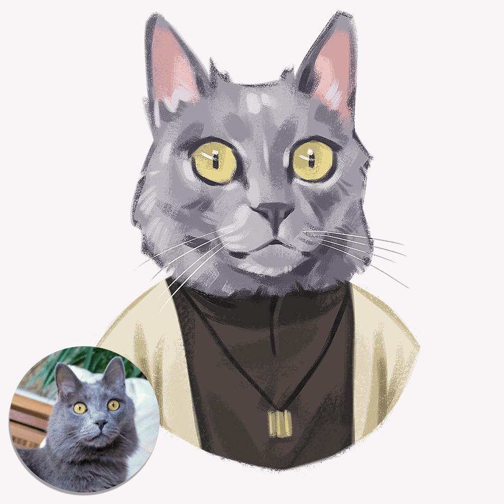 Ink-Pet Personalized Pet Portrait | Fluffy Kitty