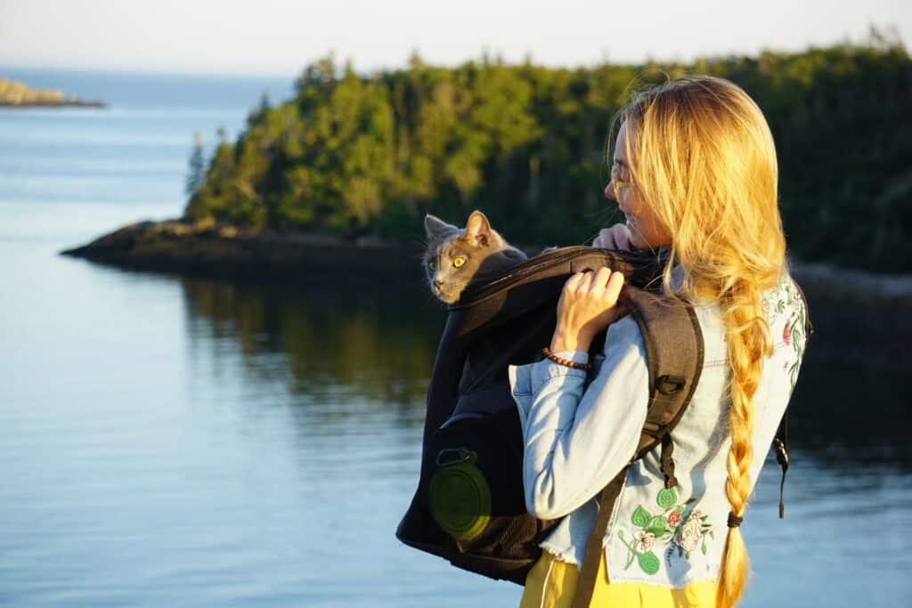 girl wearing cat backpack with cat poking its head out